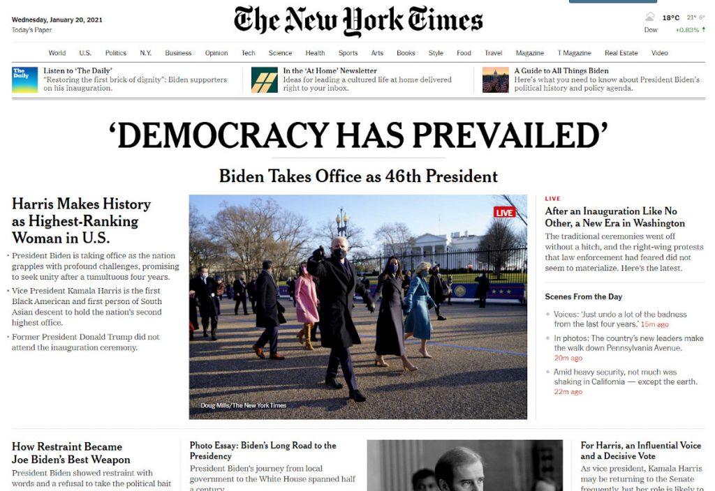 Prevalece la democracia, tituló The New York Times