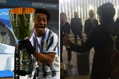 Juan Guillermo Cuadrado y Cristiano Ronaldo bailando salsa choque luego de ganar la Supercopa de Italia