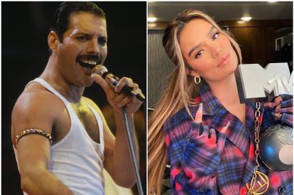 Fotomontaje de Freddie Mercury y Karol G, a propósito de comparación en Twitter