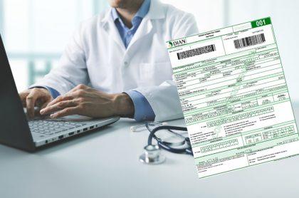 Imágenes que ilustran el reclamo de los médicos a la Dian por el trámite del RUT.