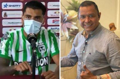 Jefferson Duque e Iván René Valenciano, quien criticó fuertemente al delantero de Nacional por sus declaraciones ante la prensa luego de perder contra Tolima