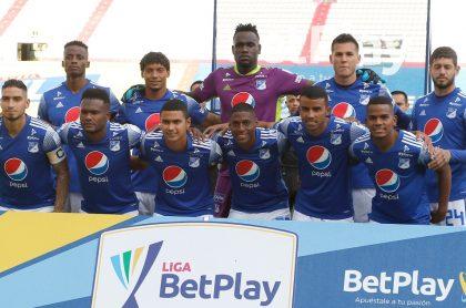 Jugadores de Millonarios, equipo del que se filtró su camiseta suplente para el 2021