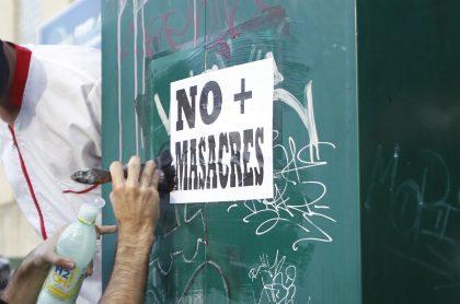 En enero de 2021, Colombia ha tenido una masacre cada 4 días. Protesta en Medellín, agosto 2020.