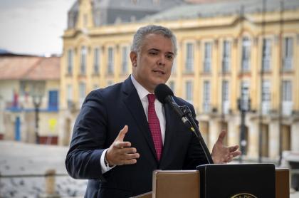 El presidente Iván Duque, cuya aprobación por fin repuntó en enero del 2021.