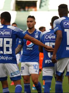 Jugadores de Millonarios, equipo que jugará contra Once Caldas esta 1 de febrero en Zipaquirá