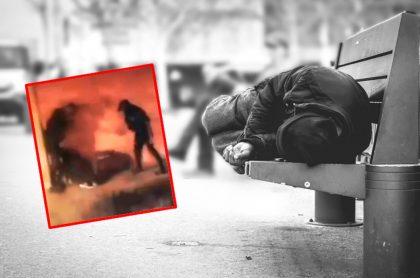 Imágenes que ilustran la agresión a un habitante de calle, en Santander.