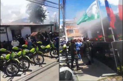 Imágenes de la estación de Policía en Soacha, en San Mateo, en donde un incendio causó la muerte de 9 personas