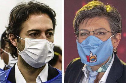 Daniel Quintero, alcalde de Medellín, y Claudia López, alcaldesa de Bogotá, dos de los mandatarios cuyo trámite de revocatoria fue suspendido por la Registraduría.
