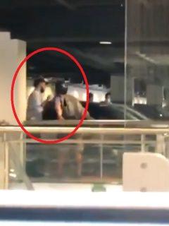 Video: ciclista le escupió a vigilante en centro comercial San Nicolás