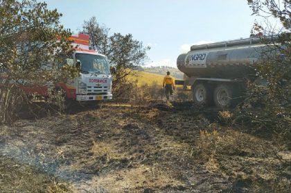 Imagen que da cuenta del incendio forestal en Boyacá.