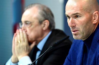 Florentino Pérez, con coronavirus; Zidane, recuperado. Imagen de referencia del presidente y del entrenador del Real Madrid.