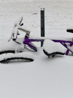 Bicicleta tapada por nieve en Nueva York, ilustra nota de Galería de fotos de gigantes tormenta de nieve en Nueva York