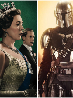 Fotomontaje de 'The Crown', 'The Mandalorian' y 'The Queen's Gambit'