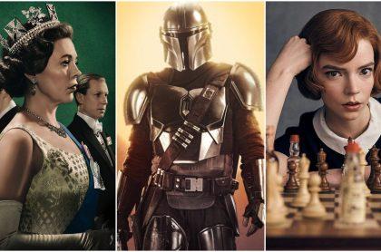 Fotomontaje de 'The Crown', 'The Mandalorian' y 'The Queen's Gambit'