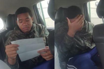 Capturas de pantalla de video viral en el que joven  se deprime después de ver su sueldo