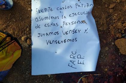Masacre en Argelia, Cauca: asesinan a tres personas y comparten panfleto
