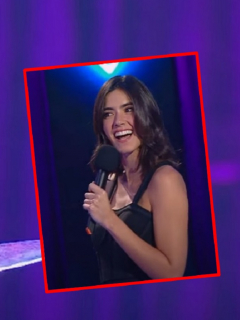 Paulina Vega, al recibir un pirobo en 'A otro nivel'.