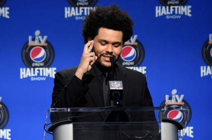 Foto de The Weeknd, quien se presentó en el 'halftime' del Super Bowl