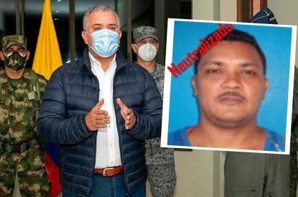 Iván Duque, presidente de Colombia anuncia desde la base aérea de Catam, en Bogotá, que Nelson Darío Hurtado Simanca, alias 'Marihuano', número 2 del Clan del Golfo, fue abatido.