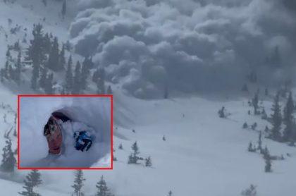 Captura de pantalla de video de monumental avalancha que atrapó y sepultó debajo de la nieve a turistas
