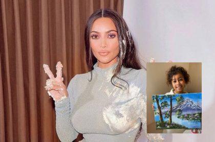 Kim Kardashian y su hijo North West, ilustran nota de polémica de Kim Kardashian por presumir obra de arte que pintó su hija
