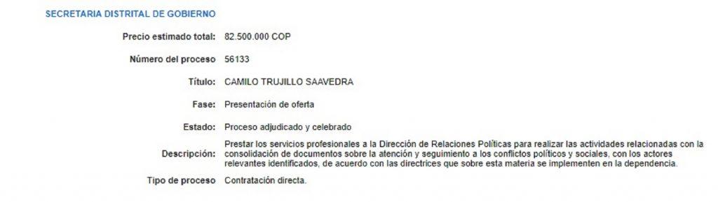Contratación con Secretaría de Gobierno.
