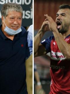 Bolillo Gómez y Andrés Cadavid, que se dieron beso en la boca celebrando el título en la Copa Colombia