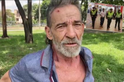José Rodríguez, adulto mayor golpeado en operativo en Cali, recibió ayuda de la Policía