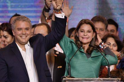 Presidente Iván Duque, que habría apoyado posible candidatura de Marta Lucía Ramírez, y la vicepresidenta