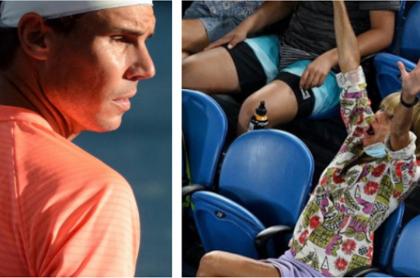 Rafael Nadal y la mujer que le hizo muecas obscenas.