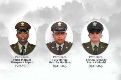 Policías Pablo Mosquera y Luis Beltrán, asesinados en Guaranda (Sucre), y Édison Parra, asesinado en Caucasia (Antioquia), en hechos ocurridos entre el 13 y 14 de febrero de 2021.