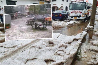 Villa de Leyva, Boyacá, donde este domingo 14 de febrero de 2021 cayó una fuerte granizada que cubrió de blanco al municipio, justo en el Día de San Valentín.