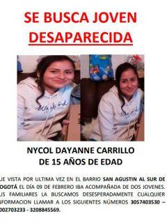 Bogotá hoy: buscan a joven desaparecida, Nycol Carrillo; tiene 15 años