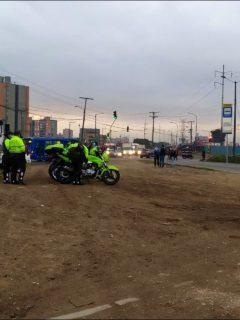 Imagen de los policías de Tránsito que acompañarán las protestas de camioneros en el occidente de Bogotá