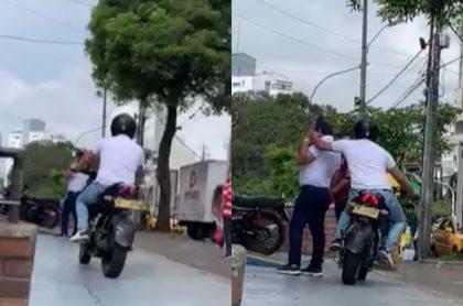 Video del robo en moto a una persona en Pereira.