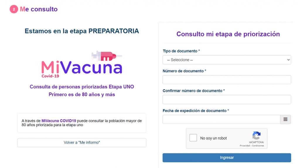 Captura de pantalla a 'Mi vacuna'
