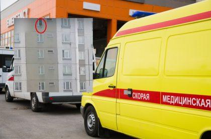 Ambulancia en Rusia y captura de pantalla de video de joven rusa que cayó desde un piso 16