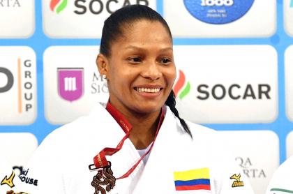 Yuri Alvear no estará en los Juegos Olímpico de Tokio por una lesión. Imagen de referencia de la judoca colombiana.