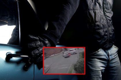 Imágenes que ilustran un accidente causado por ladrones en Bogotá