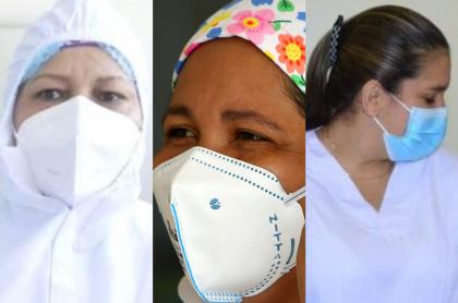 Fotos de algunos de los primeros vacunados contra la COVID-19 en Colombia: Verónica Machado, Liseidis Pérez y Sandra Herrera, respectivamente (fotomontaje Pulzo).