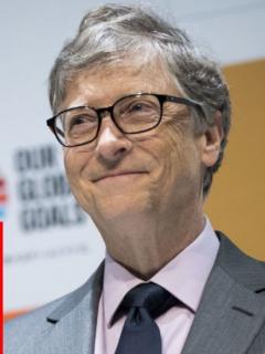 Bill Gates da discurso y carne sintético, ilustran nota de propuesta de Bill Gates a países ricos de pasar a comer solo carne sintética
