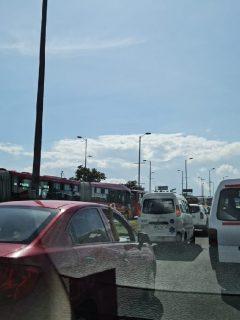 Trancón en occidente de Bogotá.