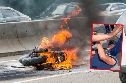 Ladrón al que le quemaron la moto, en Cali.