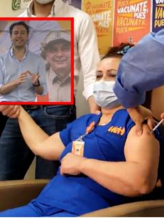 Críticas al alcalde de Medellín Daniel Quintero Calle con la primera enfermera vacunada en la ciudad.