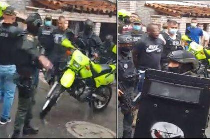 Momento en que el Gaula de la Policía captura a cinco presuntos secuestradores en Medellín