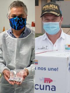 """Fotomontaje de los alcaldes y gobernadores que hicieron """"show"""" durante las jornadas de vacunación en Colombia."""