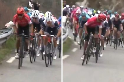 Nairo Quintana atacando en la etapa 1 del Tour de los Alpes Marítimos