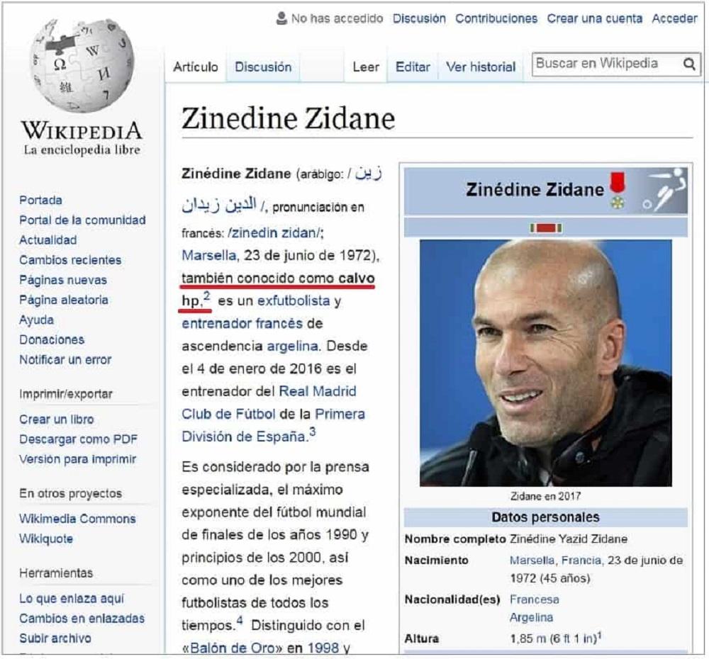 Captura de pantalla Wikipedia 2018