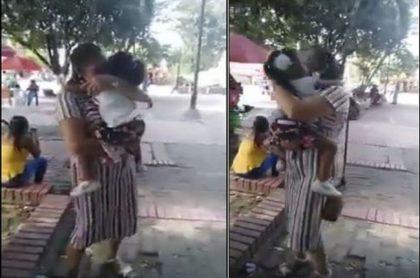 Imágenes del doloroso momento en que separan a niña de su madre adoptiva, en Arauca