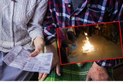 Imágenes que ilustra la quema de recibos públicos en Montería.